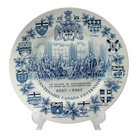 Vintage Canada Confederation Centennial Plate English Wood & Sons Blue White Pottery