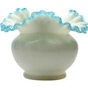 Fenton Aqua Crest Art Glass Vase Vintage 1940s Hand Made Blue Milk Glass