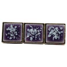 Purple Porcelain Tile Bar Pin Mid Century Modern Brooch