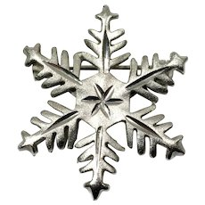 Brushed Silvertone Snowflake Pin