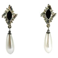 Vintage Rhinestone Teardrop Dangle Earrings with Faux Pearl