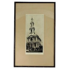 K Vernon Etching St Mary Le Strand London Framed Art English Artist Signed