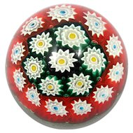 Vintage Italian Millifiori Glass Paperweight Murano Gold Red Green