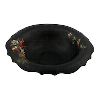 Tiffin #310 Black Glass Bowl with Bird and Flower Decoration Elegant Glass