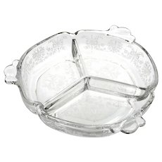 Heisey Orchid Elegant Glass Bowl 3 Part Relish Vintage  1940s Etched Flowers