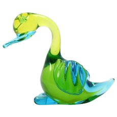 Murano Glass Duck Figurine Paperweight Blue Green Art Glass Sommerso Italian