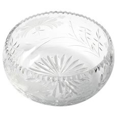 Royal Brierley Honeysuckle Crystal Bowl Vintage England Cut Glass Flowers
