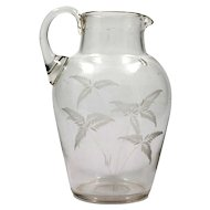 Antique English Glass Pitcher hand Blown 1870s Fern Cutting Crystal