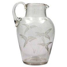 Antique English Glass Pitcher hand Blown 1870s Fern Cutting Crystal