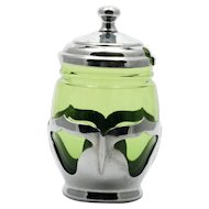 Farber Brothers Green Condiment Jar Chrome and Glass 1930s Vintage Mustard Jam
