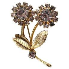 Vintage Flower Brooch Lavender Rhinestone and Gold Tone