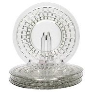 Heisey Victorian Elegant Glass Salad Plates Set of 4 Vintage Elegant Glass