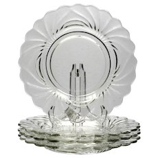 Cambridge Caprice Elegant Glass Luncheon Plates Set of 4 vintage 1930s Crystal