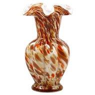 Fenton Vasa Murrhina Autumn Vase Vintage Art Glass 1965 Silver Aventurine