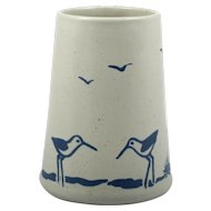 Sanibel Art Pottery Vase Blue Beach and Birds Vintage Hand Made in the USA