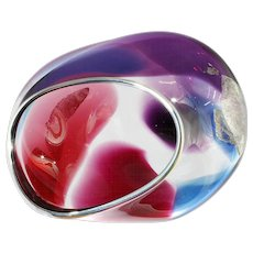 Studio Art Glass Bowl Cranberry Amethyst Blue with Silver Rim and Aventurine