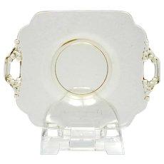 Cambridge Glass Keyhole Plate Yellow Double Handled Elegant Glass