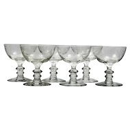Fostoria Plymouth Etched Champagne Glasses Vintage 1930s Elegant Glass Set 6