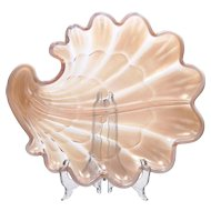 Duncan and Miller Sanibel Pink Opalescent Art Glass Relish Dish Vintage