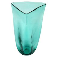 Hand Blown Art Glass Vase Sea Foam Green Vintage Triangle Shape