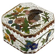 Cloisonne Enameled Trinket Box White with Birds and Flowers