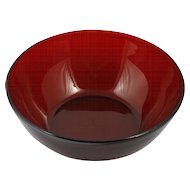 Anchor hocking Ruby Red Glass Serving Bowl salad Fruit vintage