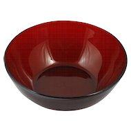 Anchor hocking Ruby Red Glass Serving Bowl salad Fruit vintage