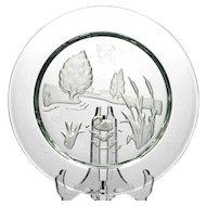 Daum Nymphea Plate French Crystal 1981 Swan Lake Intaglio Art Glass