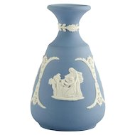 Wedgwood Blue Jasperware Bud Vase Cream Cameo Pattern Signed Vintage Pottery