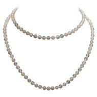 Rose quartz vintage necklace single strand 1930s