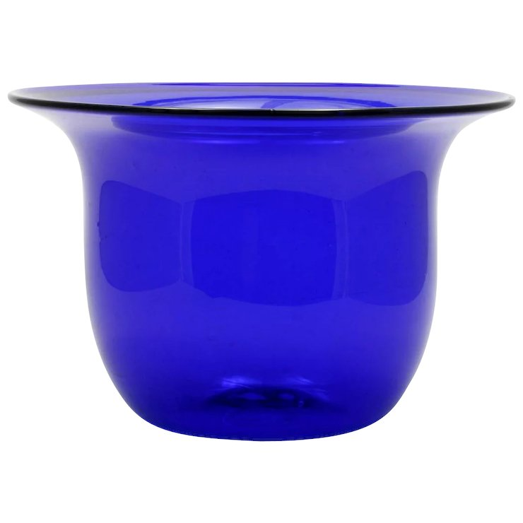 Cobalt Blue Studio Art Glass Vase Bowl Hand Blown Signed T Andre