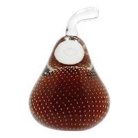 Czecoslovakian Art Glass Pear Paperweight Amber Czechoslovakian Vintage