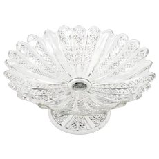 Antique Pressed Glass Low Compote Ribbed Panels and Diamonds circa 1900 European