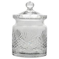 Wedgwood Majesty Crystal Biscuit Barrel English Cut Glass Vintage