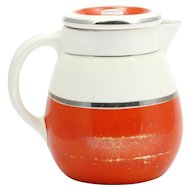 Fraunfelter China Coffee Pot Orange Silver and White Art Deco Pottery Kitchen Ware