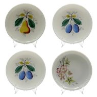 Westmoreland Glass Beaded Edge Plates with Fruit Flowers Set of 4 Vintage Milk Glass