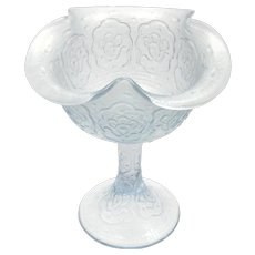 Fenton Persian Medallion Velva Blue Stretch Glass Compote Vintage Glass