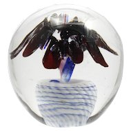 Studio Art Glass Paperweight Red White and Blue Signed John Buzz Berger