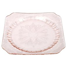 Jeannette Adam Pink Dinner Plate Depression Glass Vintage 1930s Square