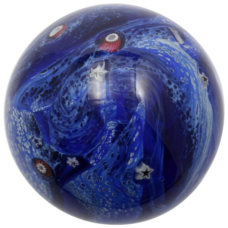 glass eye studio cobalt blue paperweight with stars and canes night sky ocean theme - Glass Eye Studio