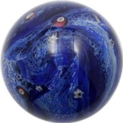 Glass Eye Studio Cobalt Blue Paperweight with Stars and Canes Night Sky Ocean theme