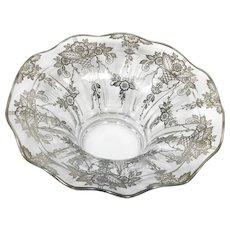 Duncan and Miller Whitney Crimped Bowl No 75 with Silver Overlay