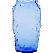 Morgantown Plaza Crinkle Vase Cobalt Blue Art Glass Vintage Mid Century Modern