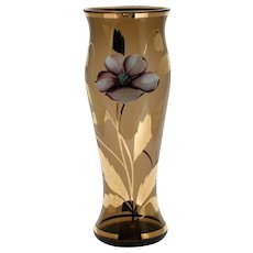 Bohemian Enameled Art Glass Vase Pink Poppy Flower Gold Leave Smoke Topaz Glass