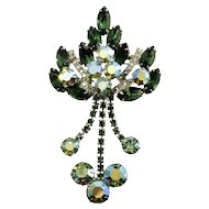 Juliana D&E Emerald Green Brooch AB Rhinestone Dangle Vintage and Verified