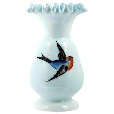 Victorian Art Glass Vase Bluebird Hand Painted Milk Glass Cased Blue 1890s
