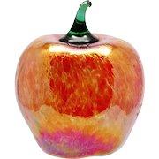 Glass Eye Studio Apple Fruit Art Glass Red iridescent Mouth Blown Seattle Studio
