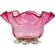 Victorian English Cranberry Art Glass Bowl Hand Blown Antique with Crystal Foot