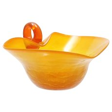 Flame Orange Crackle Glass Bowl Hand Blown Mid Century Modern Art Glass