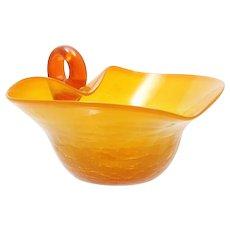 Flame Orange Crackle Glass Bowl Hand Blown Mid Century Modern Art Glass